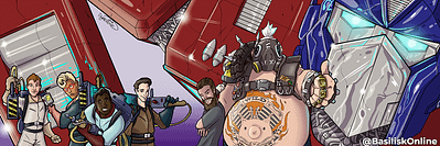 2016. Commission. Banner for Josh Petersdorf, featuring him, Roadhog, the Ghostbusters and Optimus Prime.