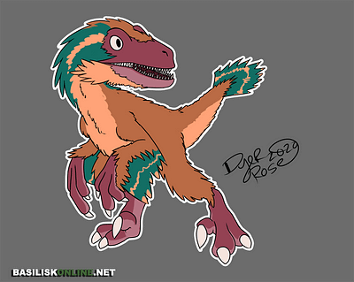2020. Licensable. Feathered Jurassic-Park styled Velociraptor.