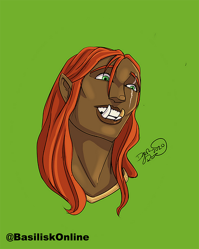 2020. Commission. Half-Orc Headshot.