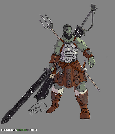 2018. Commission. Half-Orc Barbarian.