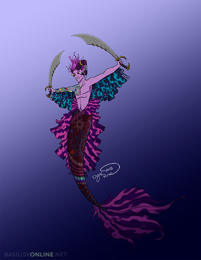 2018. Commission. Mermaid version of Mollymauk.