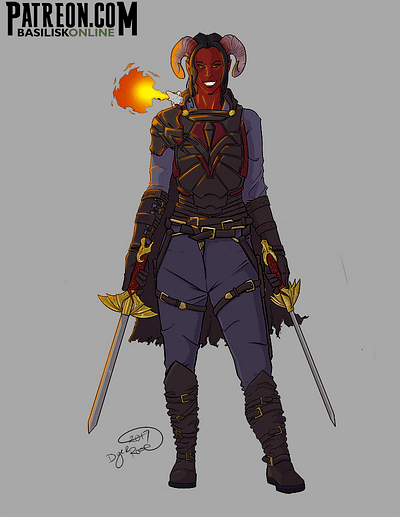 2017. Commission. Tiefling Rogue.